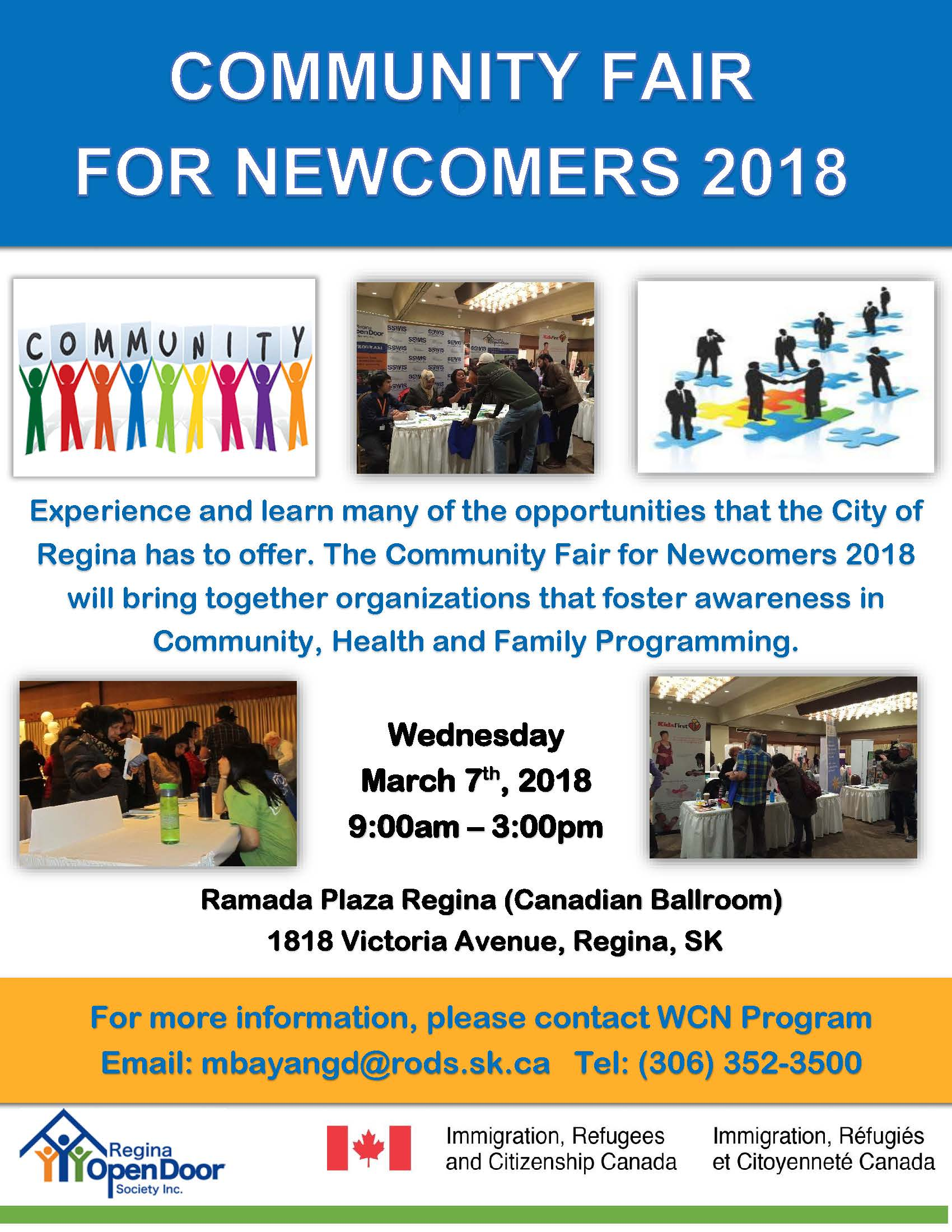 Community Fair for Newcomers 2018 - Wednesday March 7 at the Ramada Plaza - Image 1