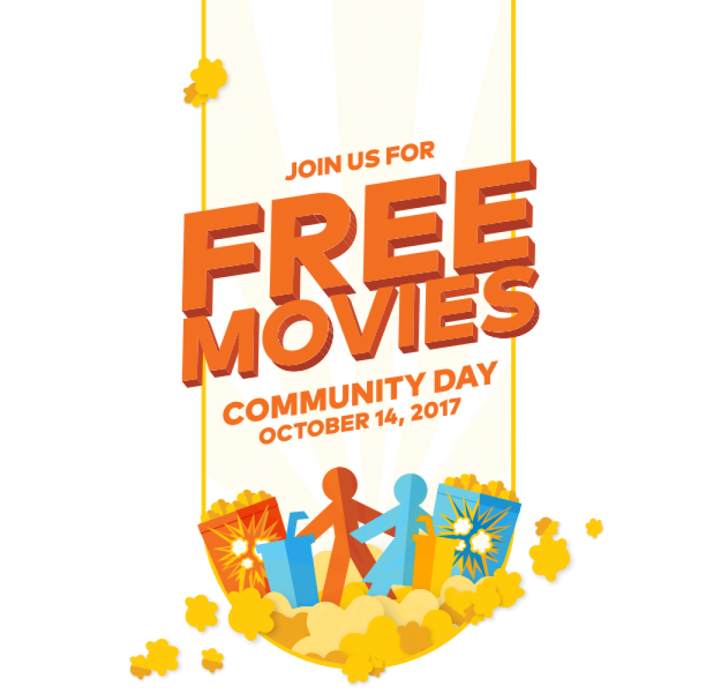 Free Movies for the Whole Family!  Community Day - October 14th from 9am - 11am at Southland Mall Cinemas.