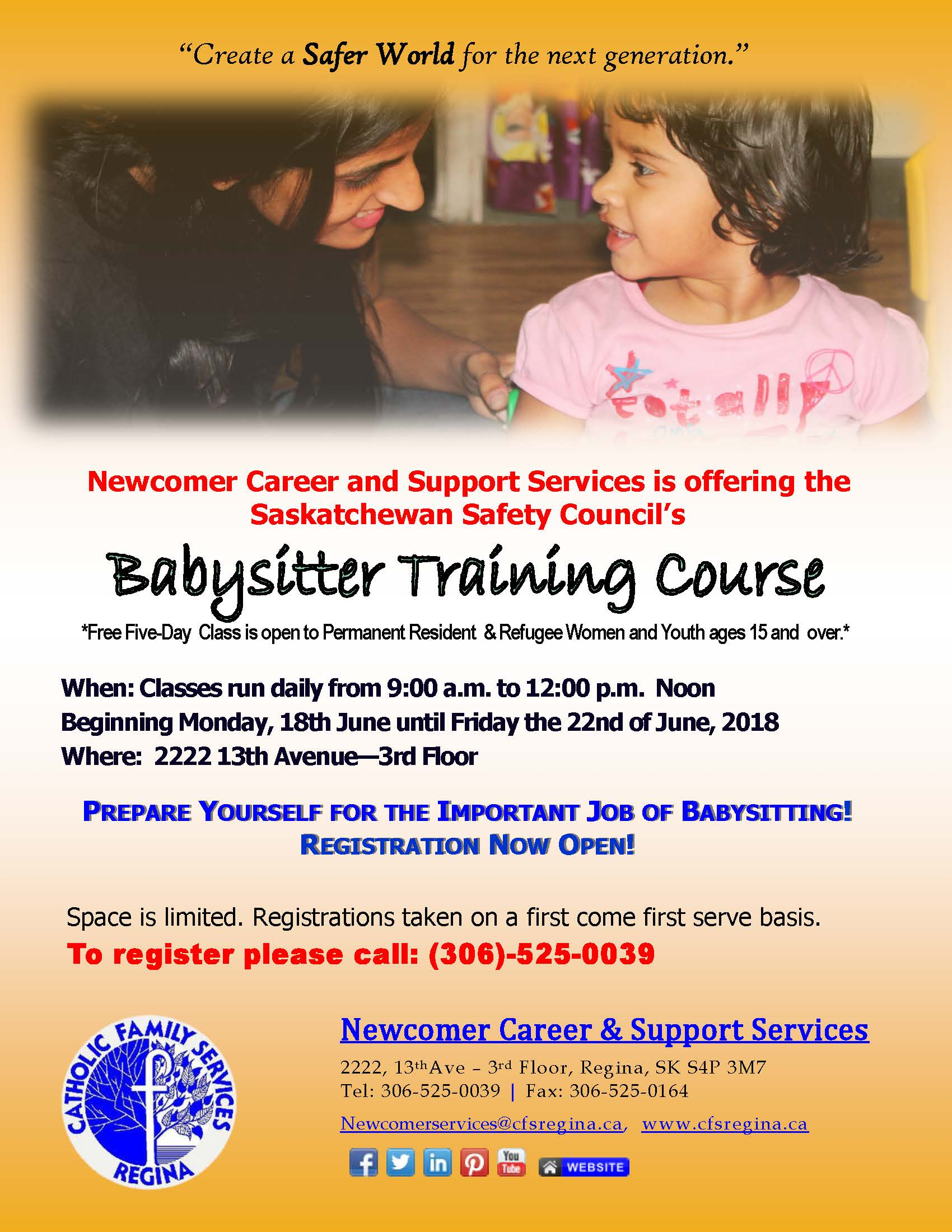 Free Training - Babysitting Course by Sask. Safety Council - at Newcomer Career and Support Services - Image 1