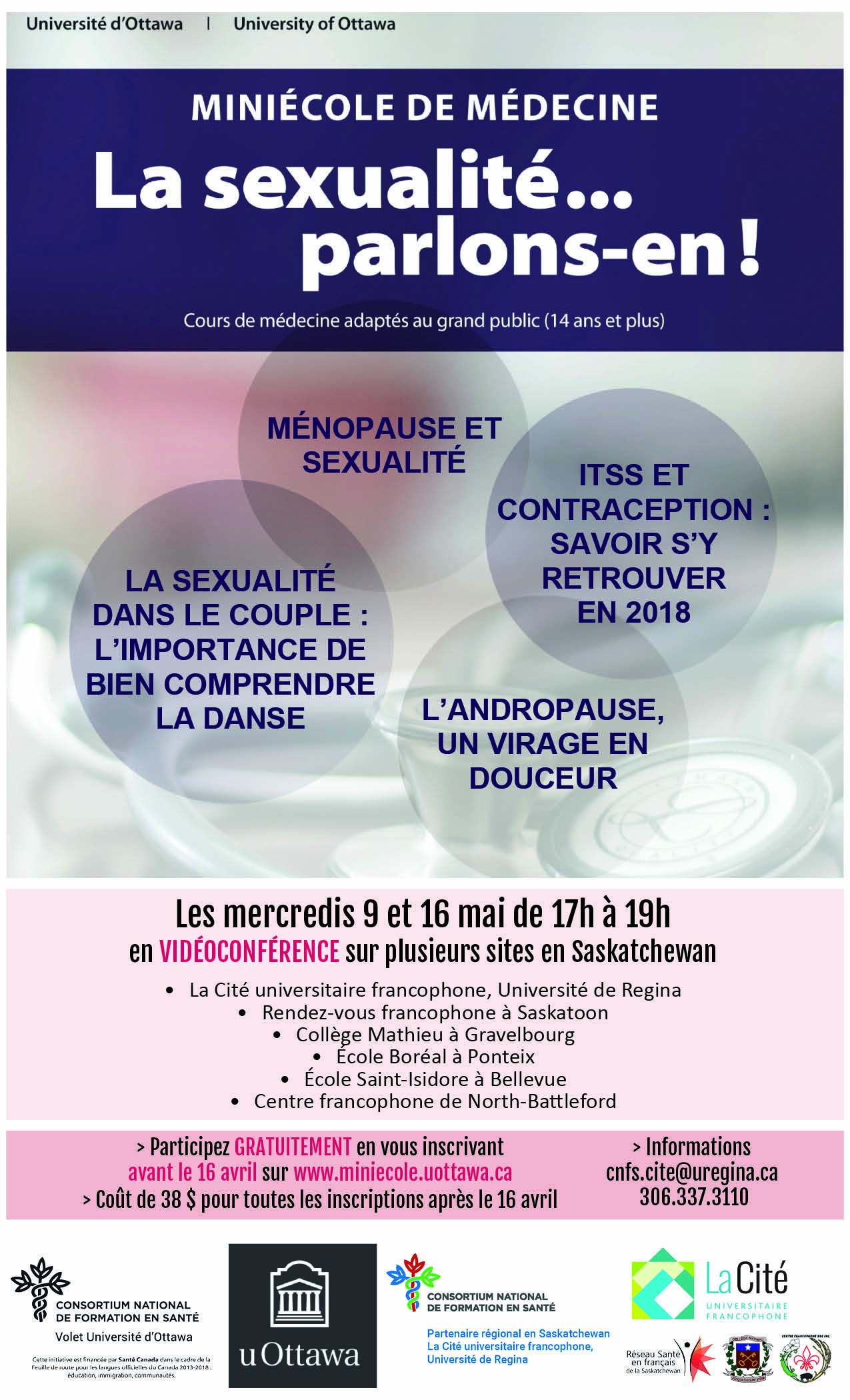 French-speaking women - information about women's health and sexuality!  Free - if you register by April 16 - Image 1
