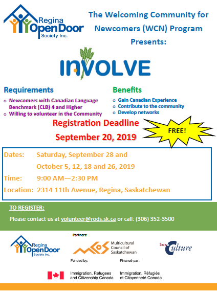 INVOLVE!  Registration open for Newcomers wanting to participate as volunteers in Regina organizations.  Free training!  - Image 1