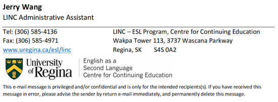 LINC Classes at University of Regina. New semester, new classes added.  Register now! - Image 1