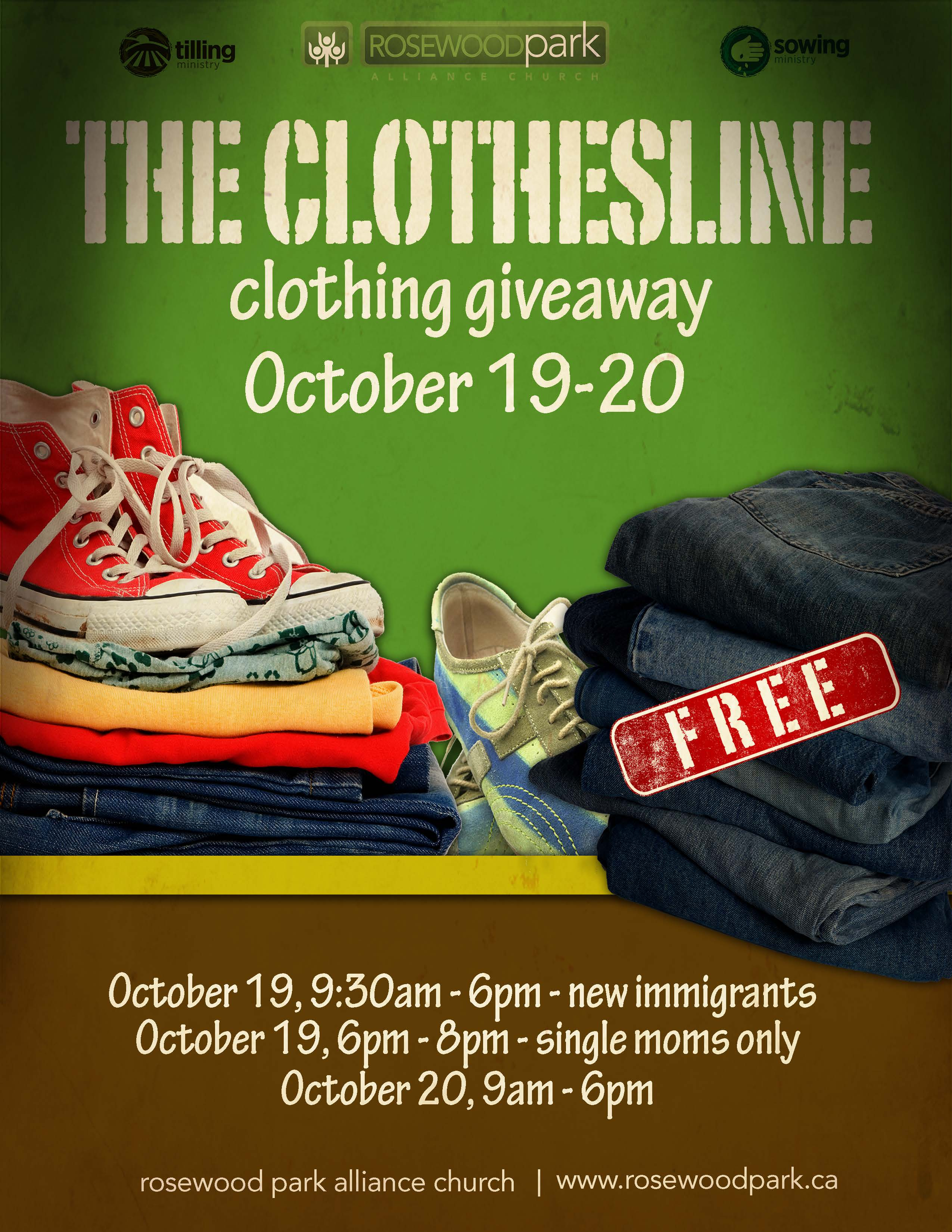 Newcomers  - Clothing Giveaway at Rosewood Park Alliance Church.  Free - all sizes - includes winter clothing. Oct 19 and 20. - Image 1