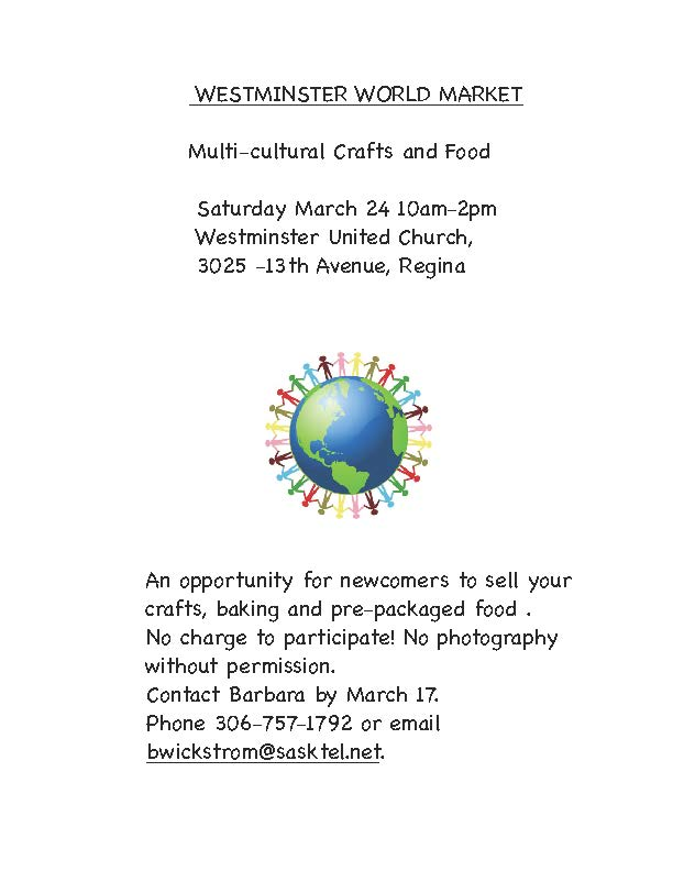 Newcomers! There is still time to register for a table at  Westminster World Market on March 24th  - Image 1