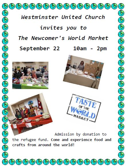 Newcomer's World Market - This Saturday at Westminster United Church - Image 1
