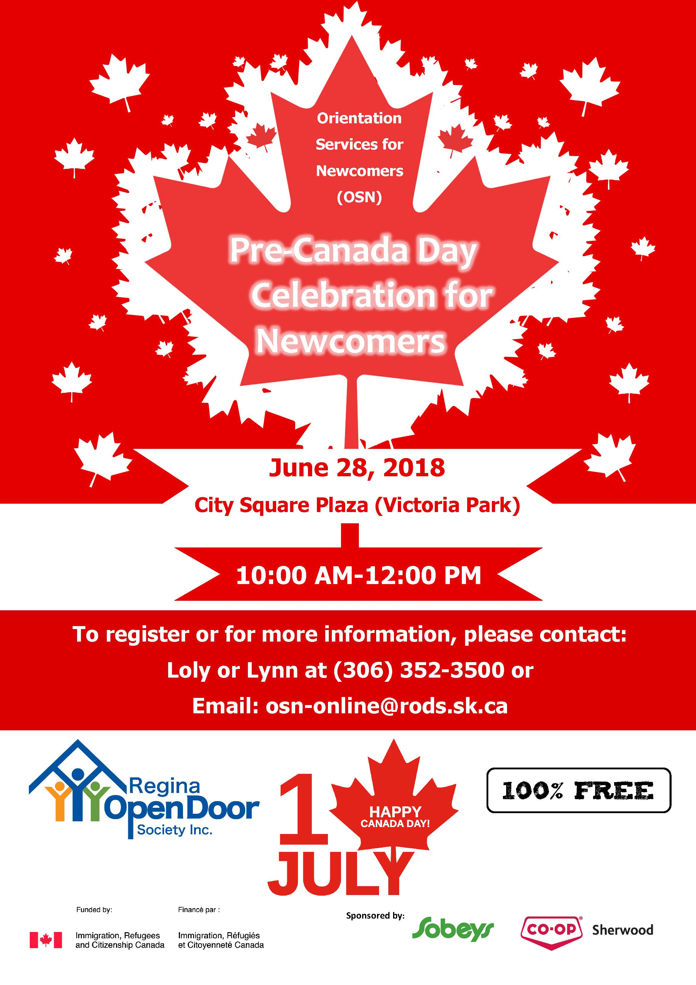 Pre-Canada Day Celebration for Newcomers!  June 28 - 10 am to 12 noon - Image 1