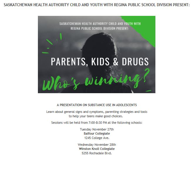 Presentation on Substance Abuse in Youth - Nov 27 & 28th - Image 1