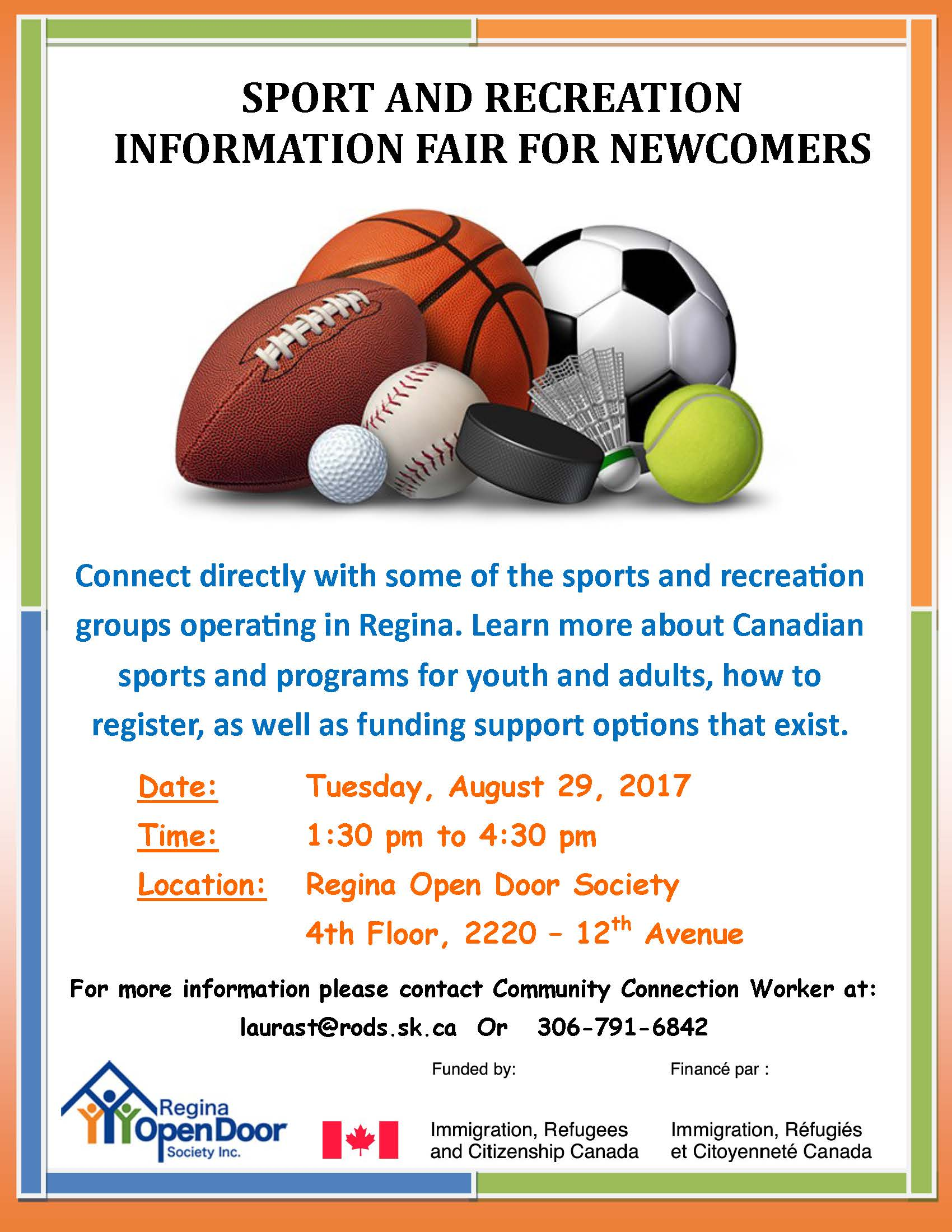 Sports and Recreation Information Fair for Newcomers!  Find Out About Canadian Sports for Kids and Adults in Regina and How to Register - August 29 - Image 1