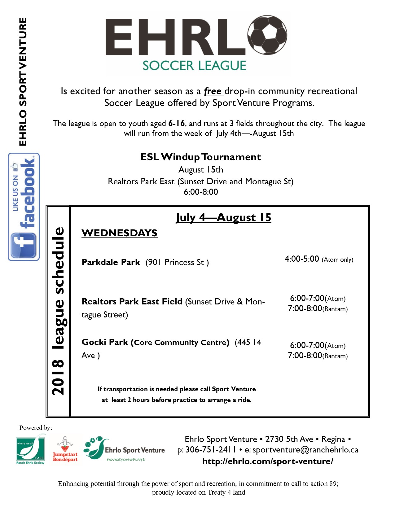 Volunteers are needed for the Ehrlo Soccer League -  running July 4 to mid-August 2018! - Image 1