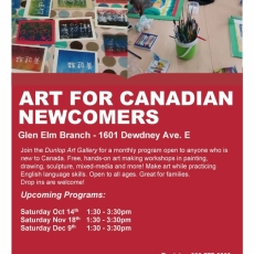 Art For Canadian Newcomers - at the Glen Elm Library!  Free - all ages welcome.