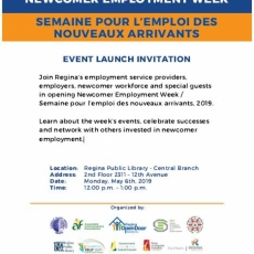 Newcomer Employment Week, 2019 Launch is One Week from Today