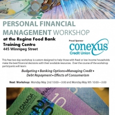 FREE!  Personal Financial Management Workshop!  At the Regina Food Bank!