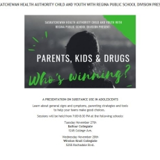 Presentation on Substance Abuse in Youth - Nov 27 & 28th