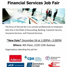 Rescheduled! Employment Fair - Financial Services Sector.  Dec 4 from 1-3 pm