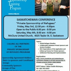 Private Sponsorship of Refugees Saskatchewan Conference - May 3-4