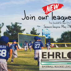 Ehrlo Baseball Rookie League - Kids aged 6 - 11.  FREE - including equipment, coaching and transportation!