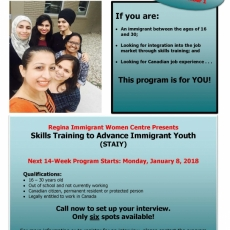 Youth (16-30) Skills Training (Employment Program) at RIWC  is now accepting applications!   Registration Deadline Dec 1/17.
