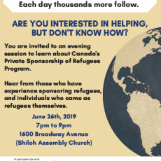 Private Sponsorship of Refugees Celebration and Information Event - Wednesday, June 26th