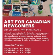 Art Program for Newcomers to Canada. Free!  Bring the whole family - no registration required!