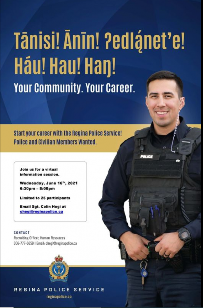 Are You Interested Finding Out What Working with Regina Police Would be Like? Information Session Wednesday Evening!