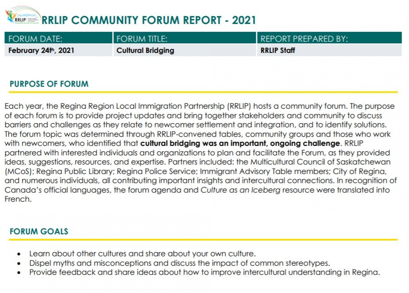 Cultural Bridging Forum Report and Resources - Available now on the RRLIP website!