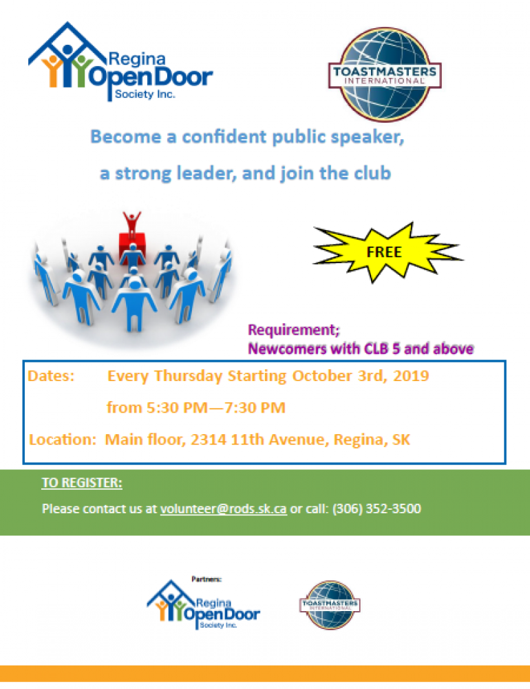 Free Public Speaking Group for Newcomers - Starting Oct. 3rd