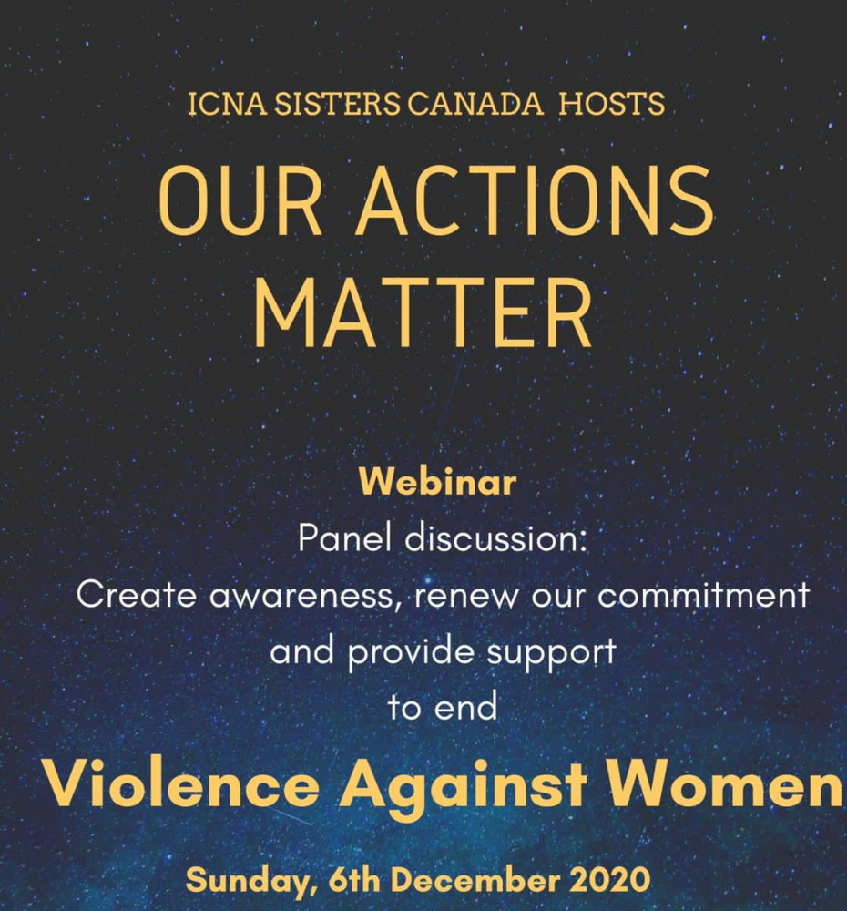ICNA Sisters is Coordinating a Webinar Addressing Violence Against Women - Sunday, Dec. 6th