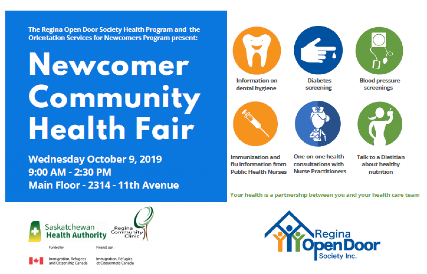 Health Fair for Newcomers - Oct. 9th