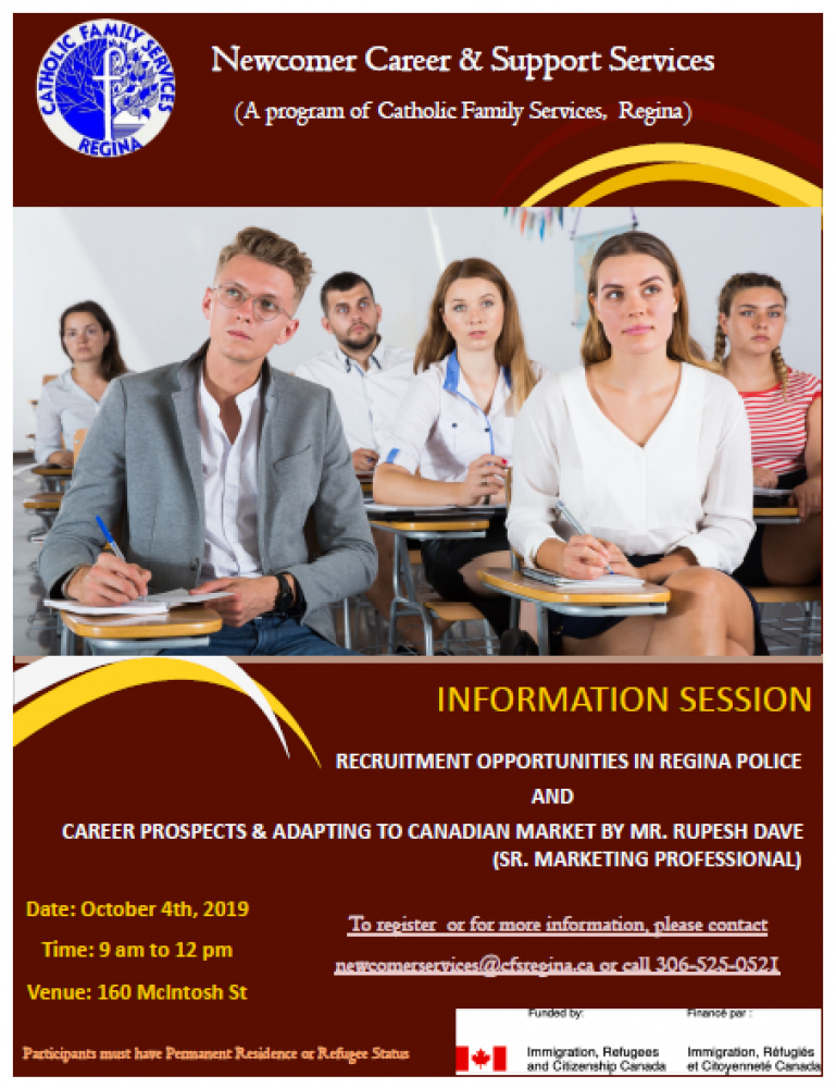 Regina Police Recruitment Opportunities and Adapting to Canadian Career Market Information Session - Friday, Oct. 4th