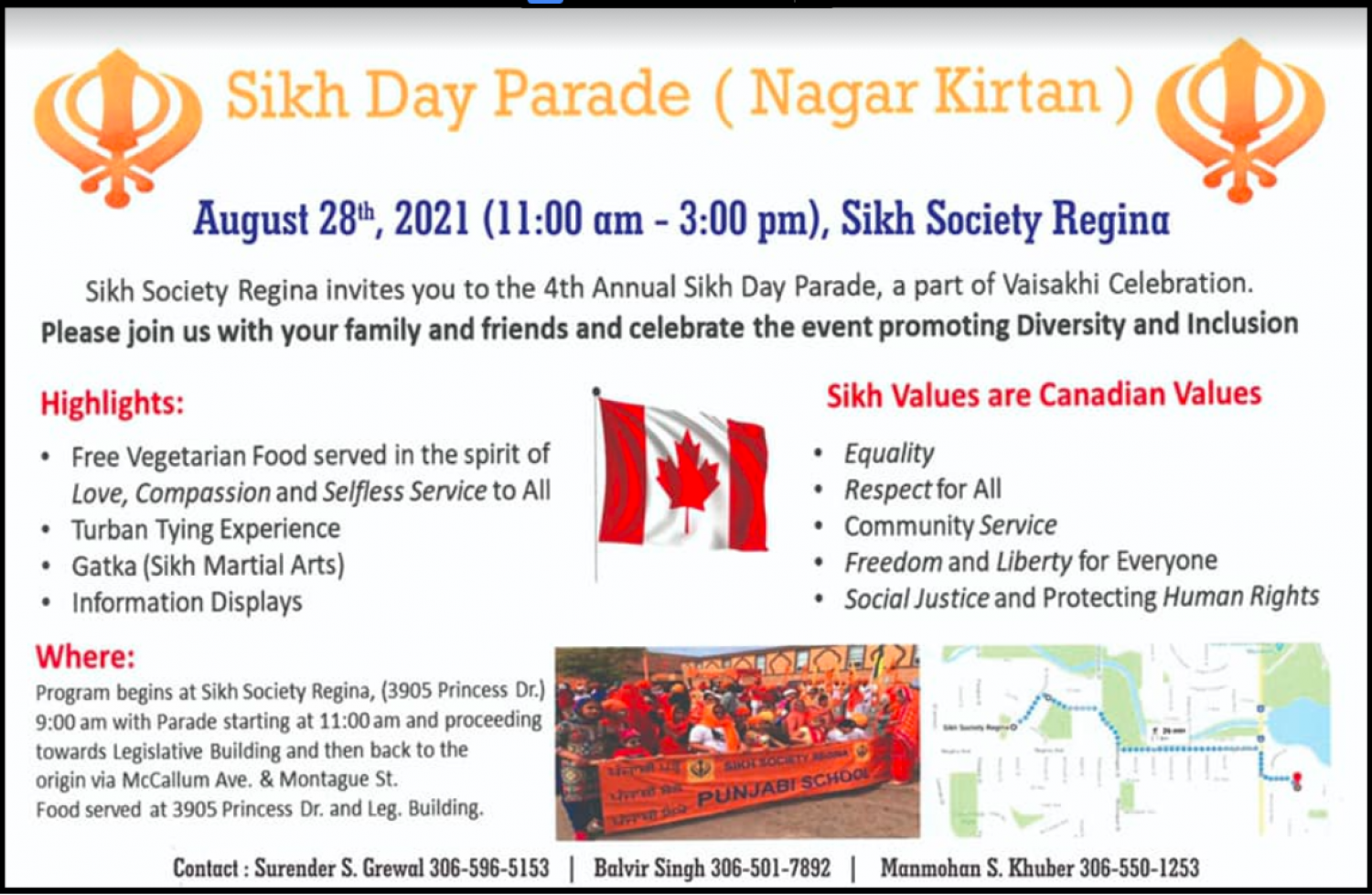 Sikh Day Parade - Saturday August 28! Everyone Welcome!