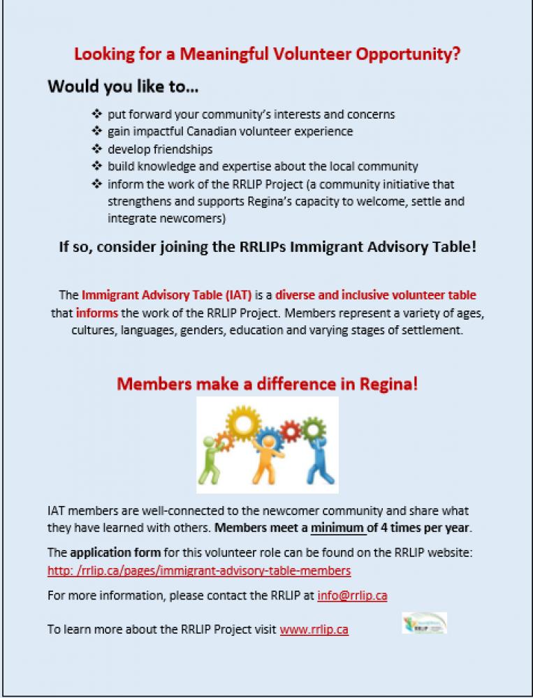 Volunteer Opportunity with the RRLIP (Regina Region Local Immigration Partnership)!
