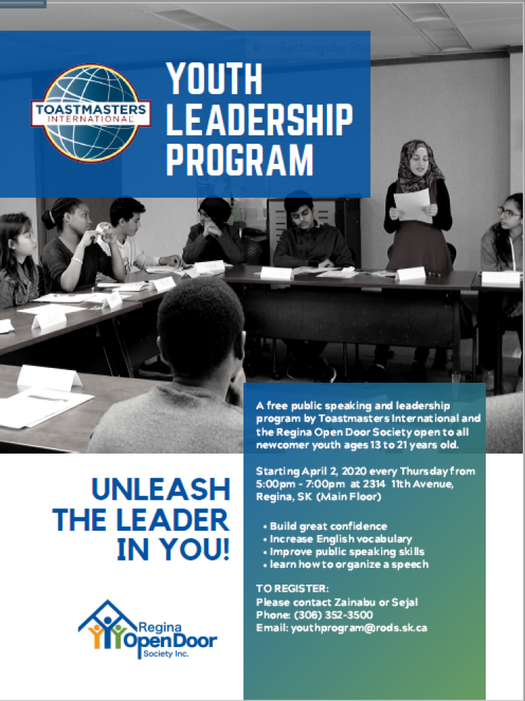 Youth Toastmasters Program Beginning April 2nd
