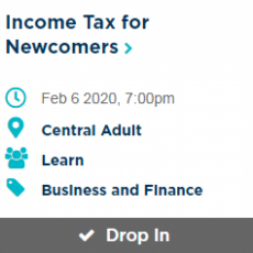 Income Tax Session for Newcomers - Thursday, February 6th
