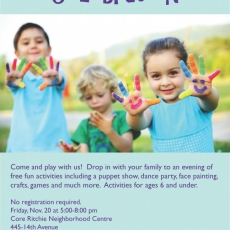 Free Family Activity for Young Children!  National Child Day Celebration!