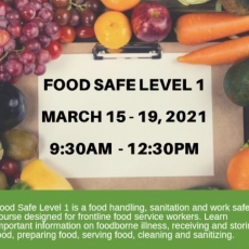 Food Safe Training: March 15 - 19th